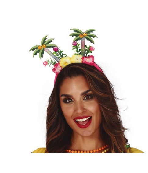 Hawaii hårbøjle, med palmer og blomster