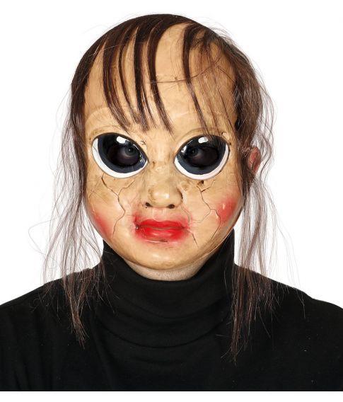 Uhyggelig plastik maske, med tyndt hår