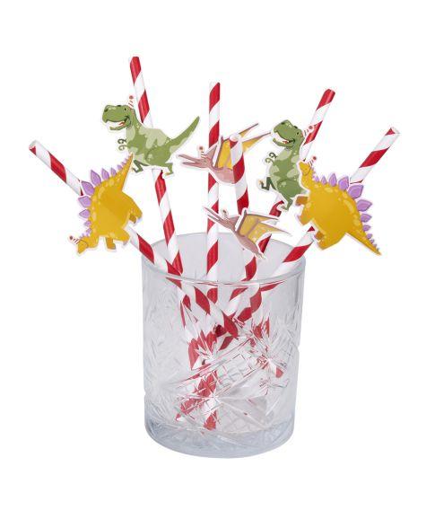 6 stk papir sugerør med dinosaur