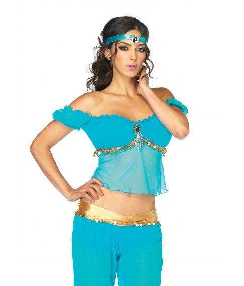 Flot arabisk kostume med top, bukser og pandebånd fra Leg Avenue.