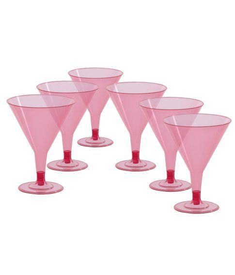 6 stk cocktail glas i pink plastik