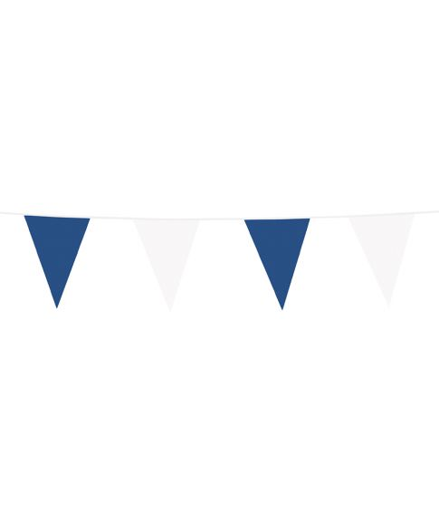Vimpelguirlande med blå og hvide vimpler i plastik