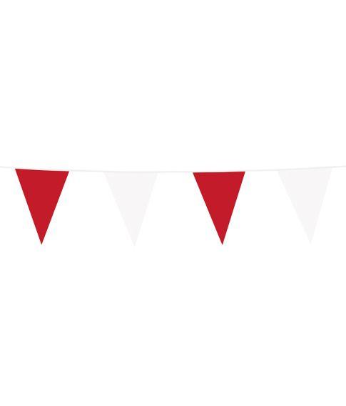 Vimpelguirlande med røde og hvide vimpler i plastik