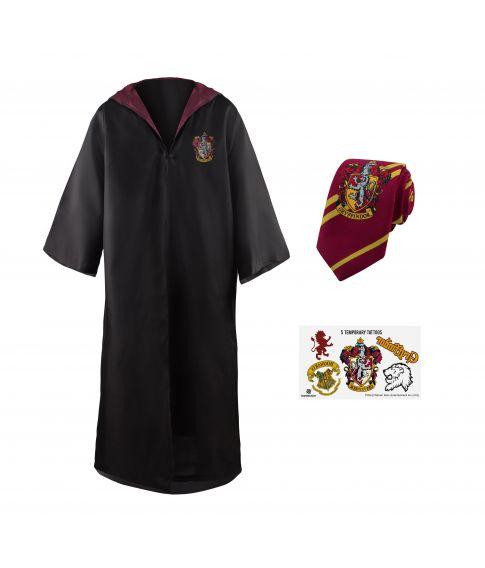 Flot Harry Potter kostume med kappe, slips og tatovering.