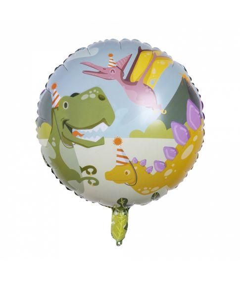 Rund folieballon til dinosaur fødselsdagen