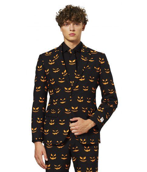 Flot sort jakkesæt med græskar ansigter til halloween.