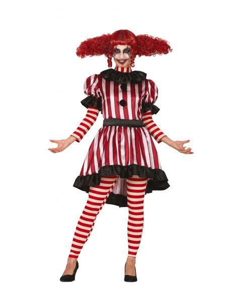 Stribet klovne kostume med kjole og bukser