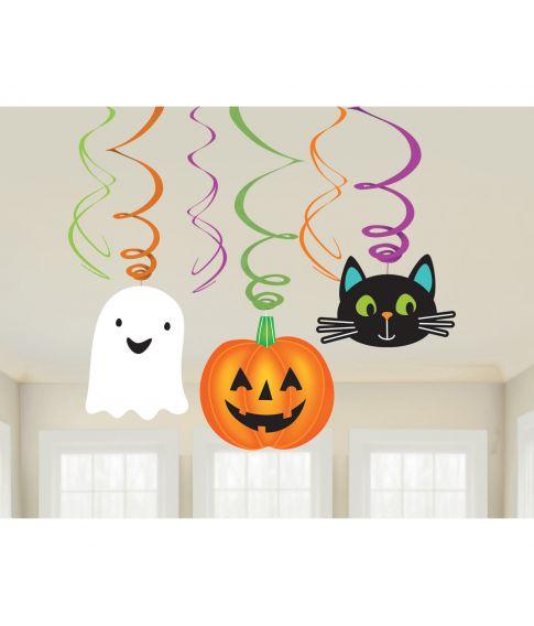 Flotte halloween spiraler med vedhæng til ophæng.