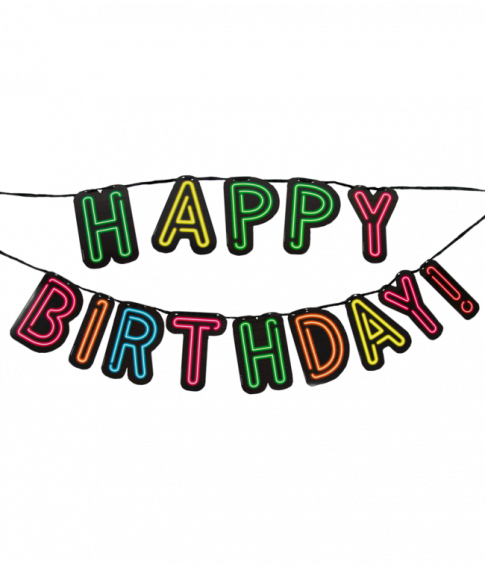 Happy birthday bogstavbanner i neon farver