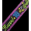 Afspærringstape til 18 års fødselsdag, i neon farver