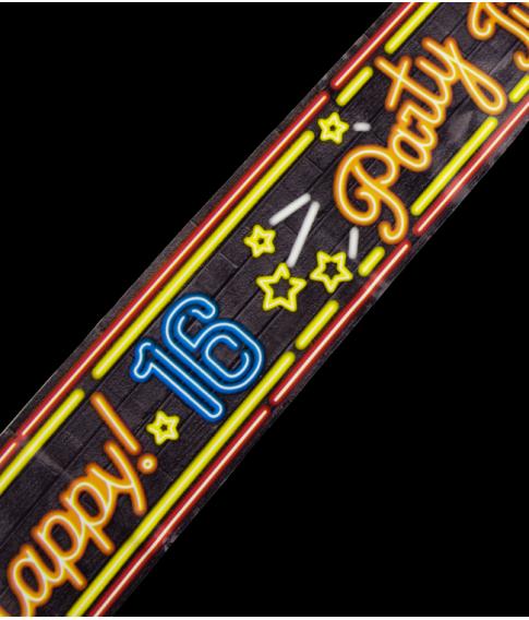 Afspærringstape til 16 års fødselsdag, i neon farver