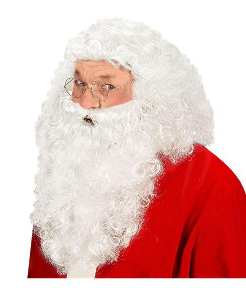 Julemandsparyk med skæg.