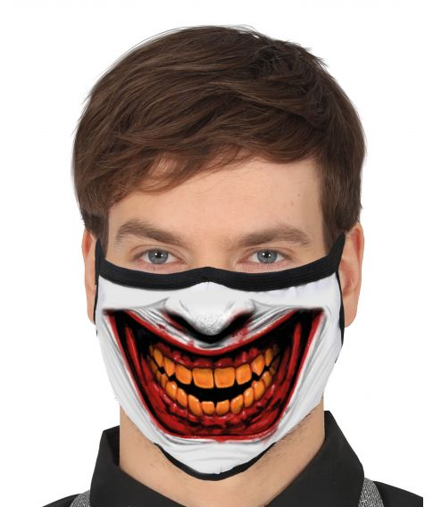 Flot mundbind med The Joker motiv til halloween udklædningen.