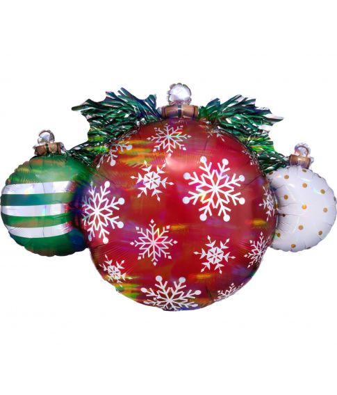 Flot folieballon til helium med julekugler.
