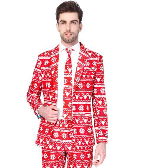 Billigt rødt og hvidt julejakkesæt.