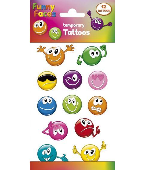 Funny Faces tatoveringsark, 12 stk