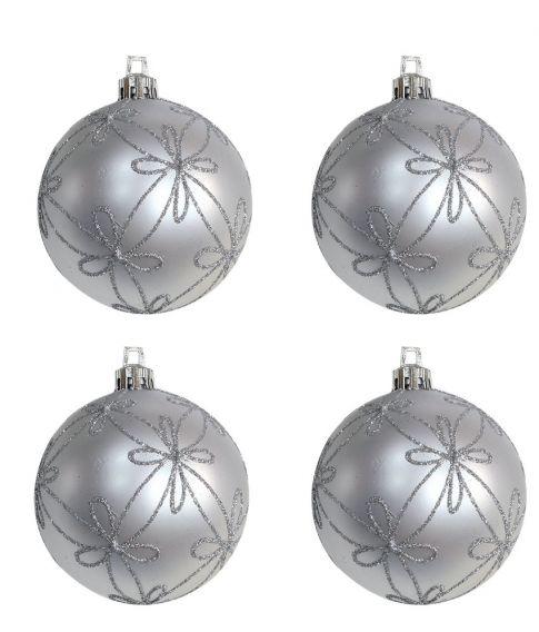 Flotte sølv julekugler med glimmer til juletræet.
