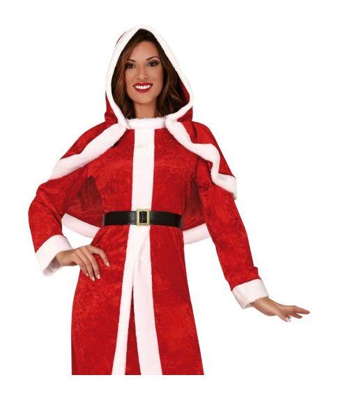 Billig lang julekjole med kappe og bælte.