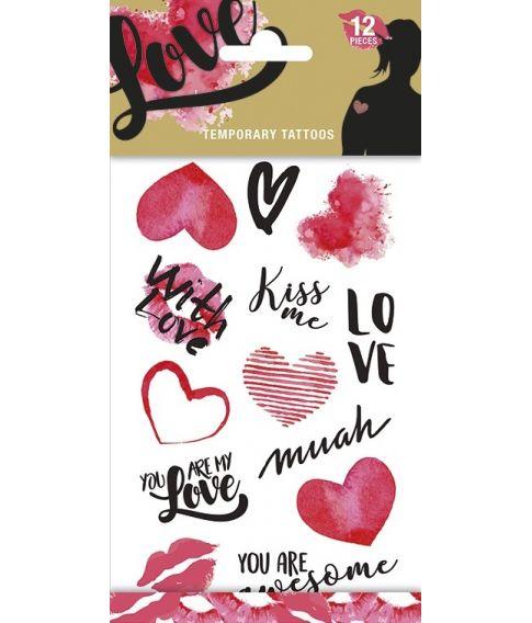 Love tatoveringsark med 12 motiver