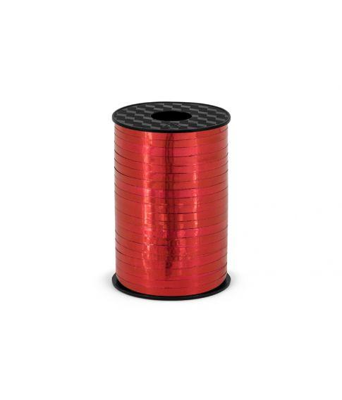 Rød metallisk gavebånd i plastik. 5mm bredt, 225m langt.
