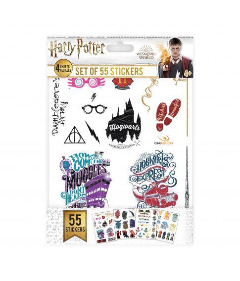 Flotte klistermærker med 55 Harry Potter og Hogwarts motiver.