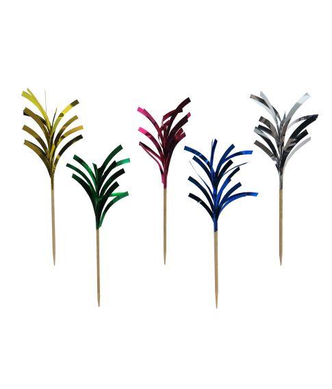 20 stk drinkspinde med palmer i forskelligt farvet folie