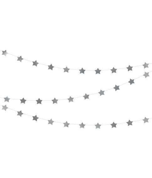 Foliestjerne guirlande i Sølv