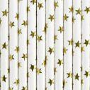 10 stk hvide papir sugerør med guld stjerner