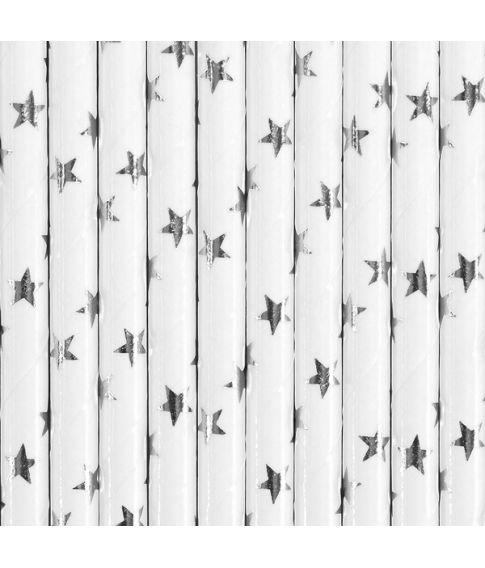 10 stk hvide papir sugerør med sølvstjerner