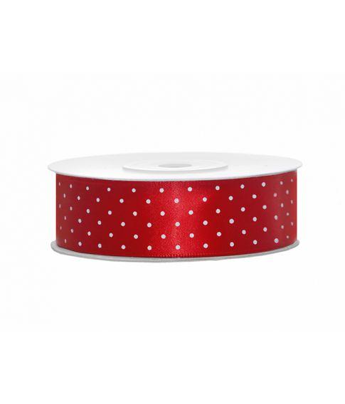 Rødt satinbånd med prikker på 25mm x 25m