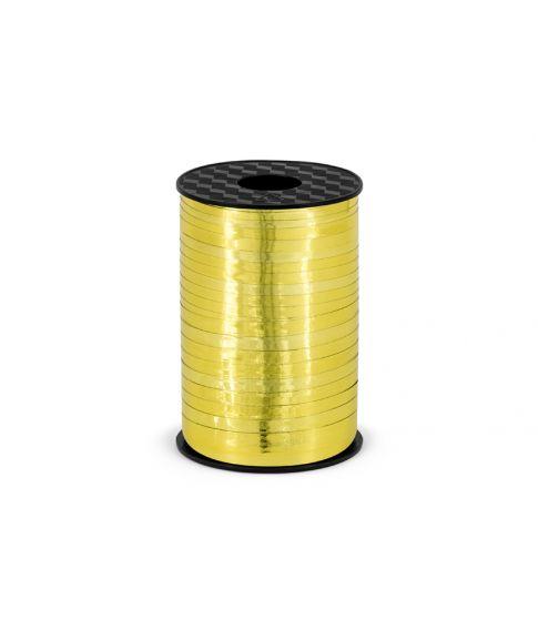 Guld metallisk gavebånd i plastik. 5mm bredt, 225m langt