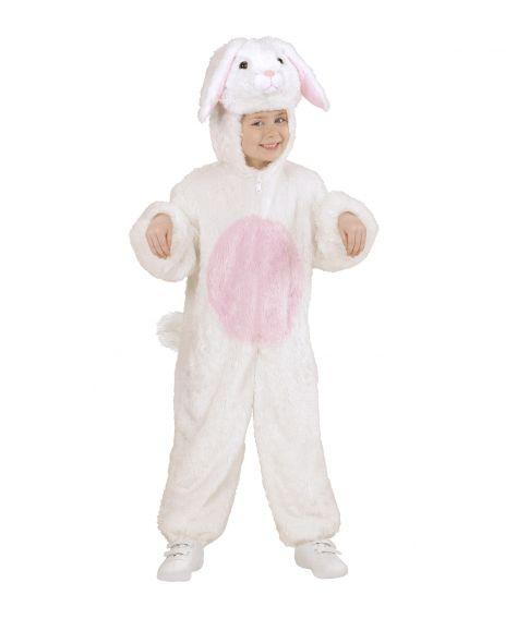 Blødt Kanin kostume med hvidt plyds jumpsuit med hætte.