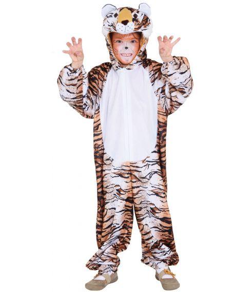 Flot Tiger kostume med jumpsuit med hætte.