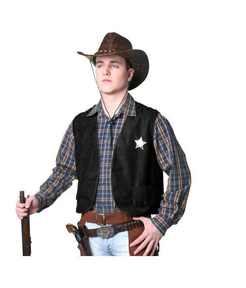 Flot sort Cowboy vest til voksne.