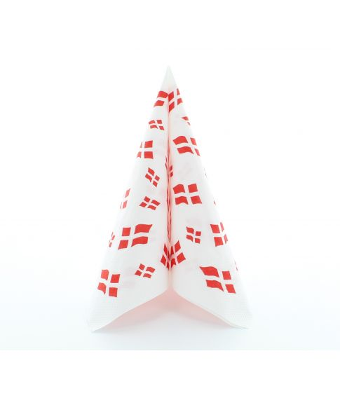 Flotte hvide 3-lags frokostservietter i papir med danske flag.