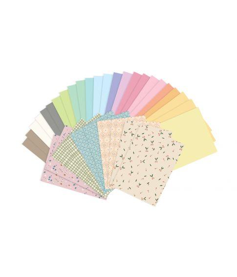Papirsæt med 34 ark a4 papir i pastel farver