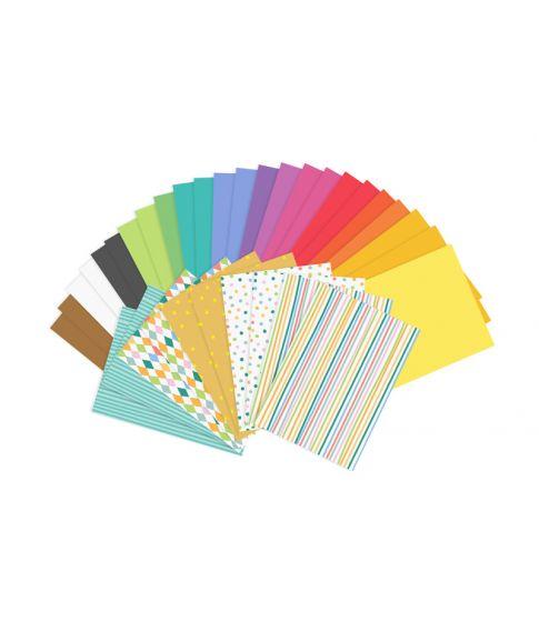Papirsæt med 34 ark a4 papir i forskellige farver