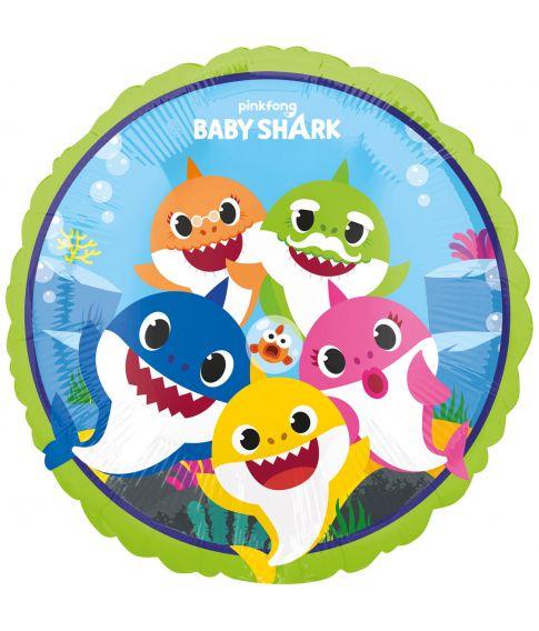 Rund folieballon med Baby Shark