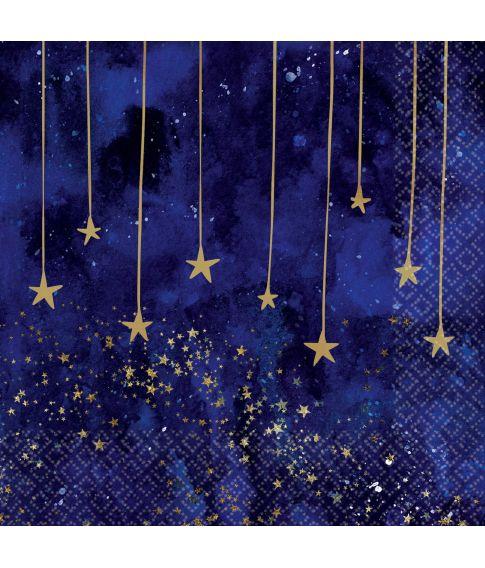 Flotte lilla servietter med guldstjerner.