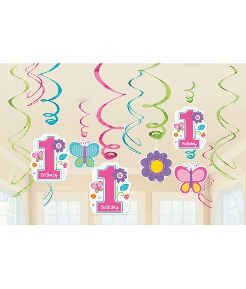 Flotte spiraler til ophæng til pigens første fødselsdag.