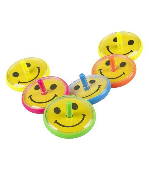 6 stk små snurretoppe med smiley ansigter