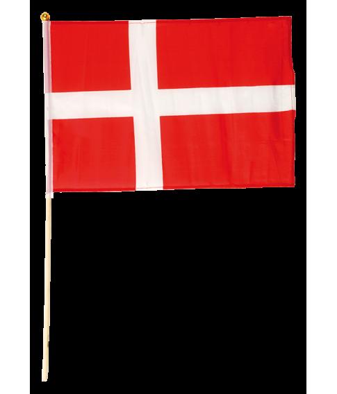 Flot dansk flag i polyester på træpind.