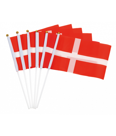 Flotte 6 stk danske stofflag på pind med guldfarvet knop.
