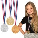 3 medaljer i henholdsvis guld, sølv og bronze