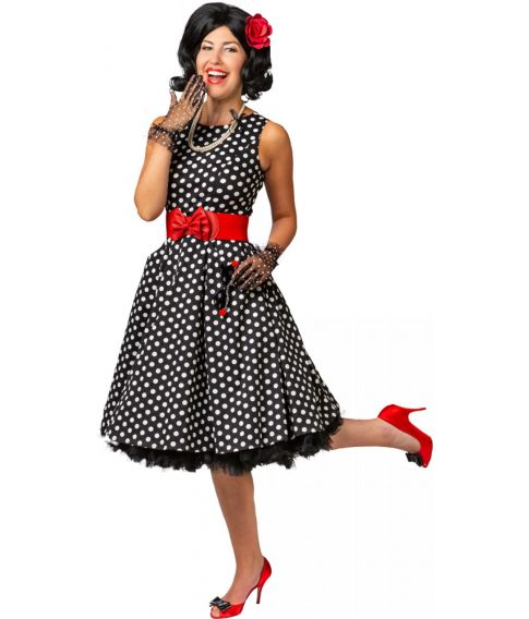 Flot sort kjole med hvide prikker til 50er udklædningen.