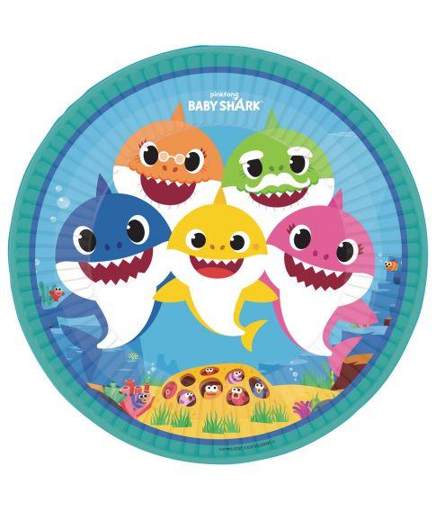 Flotte Baby Shark tallerkener til børnefødselsdagen.