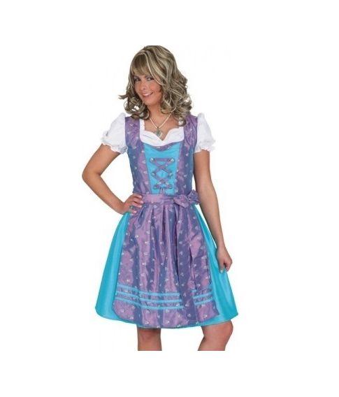 Dirndl kjole turkis og lilla.