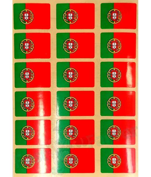 Ark med 18 portugisiske flag klistermærker