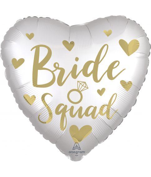 Flot hvid hjerteballon med Bride Squad guld motiv