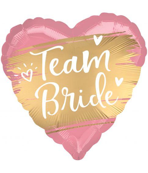 Lyserød hjerteballon med Team Bride guld motiv